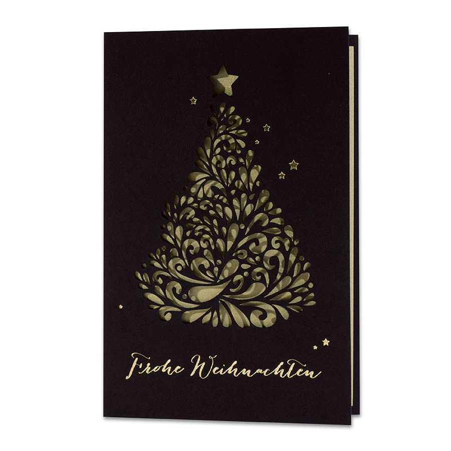 schwarze weihnachtskarten im eleganten design. Black Bedroom Furniture Sets. Home Design Ideas