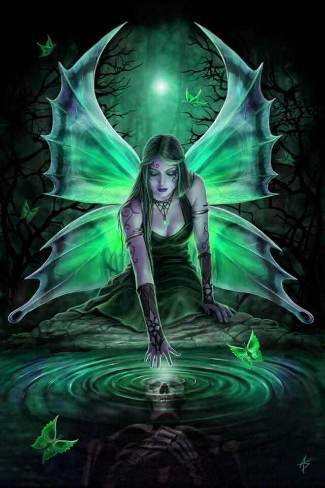 Skull And Green Fairy Fairy Artwork Gothic Fantasy Art Fantasy Art
