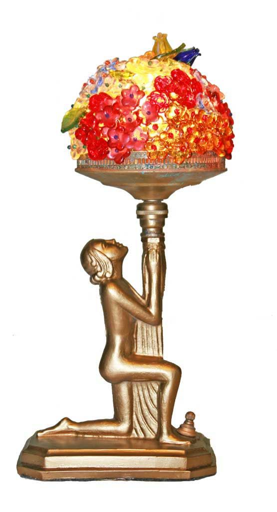20 Inch Design Toscano Art Deco Peacock Maidens Sculptural Table Lamp Polyresin Bronze and Pearl Finish PD331