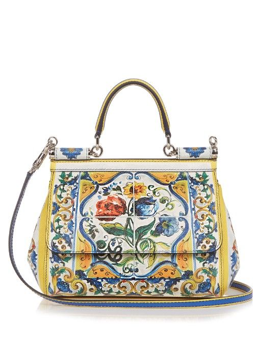 ee1078b8ee DOLCE   GABBANA Sicily Majolica-Print Small Leather Cross-Body Bag.   dolcegabbana  bags  shoulder bags  hand bags  leather  lining