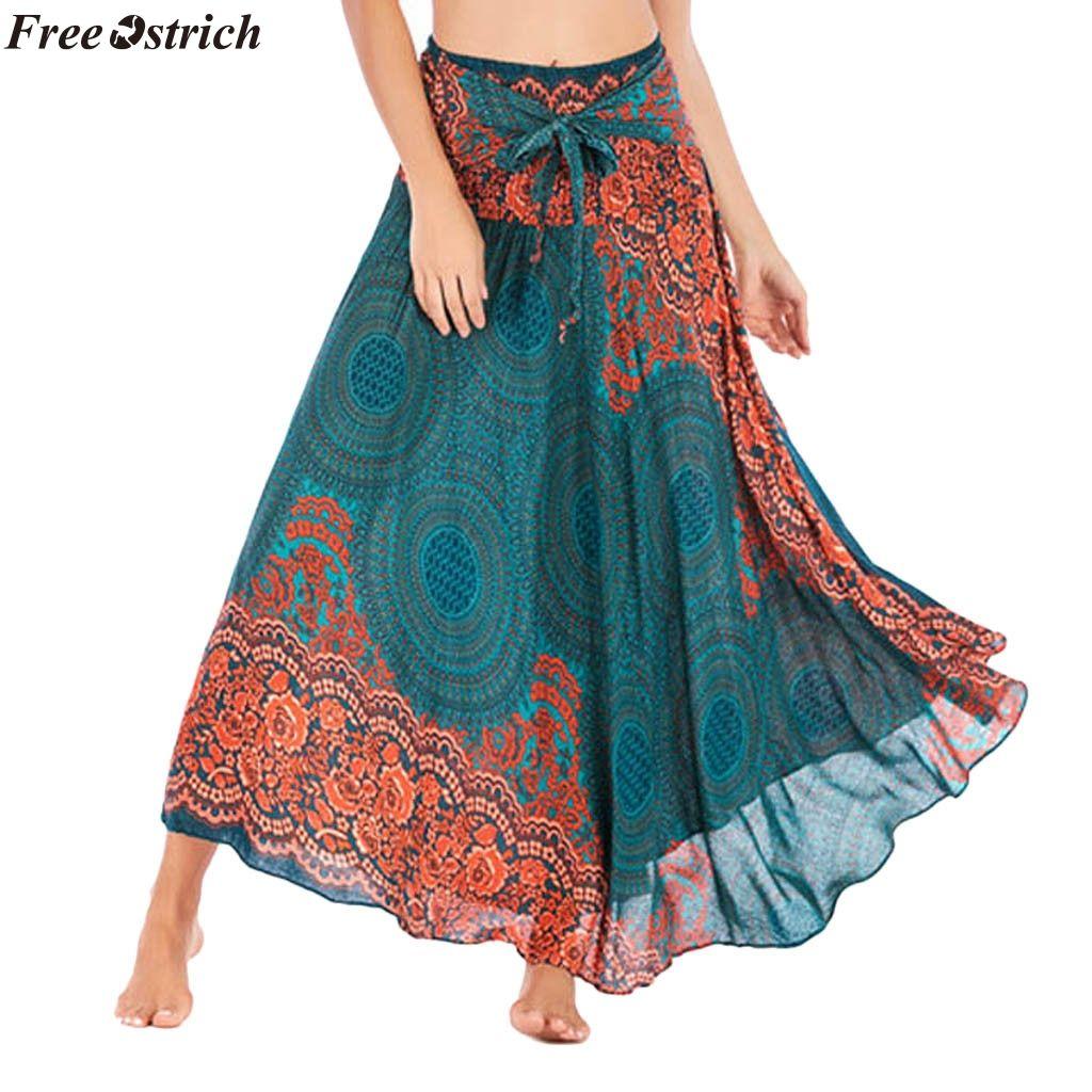 Womens Casual Long Hippie Bohemian Flowers Skirt Gypsy Dress Halter Skirt