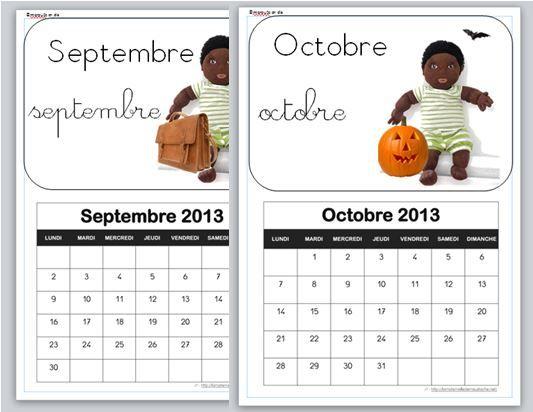 calendrier de l'année 2013-2014 illustré par Bello