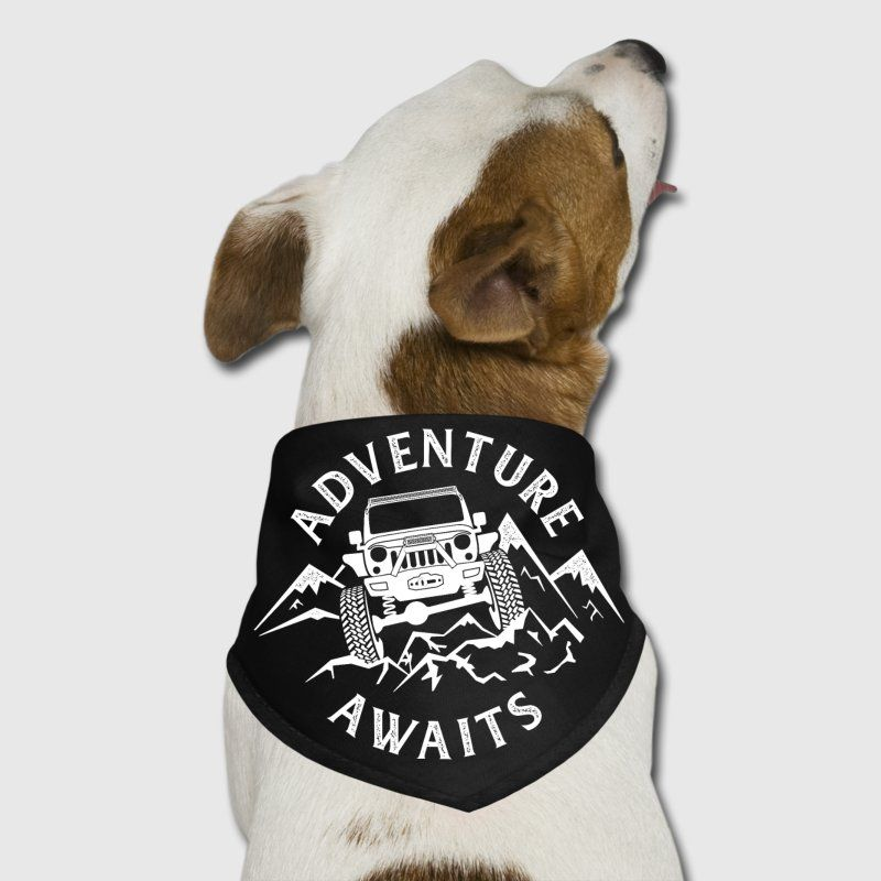 Adventure Awaits Distressed Quote with Jeep Dog Bandana ...