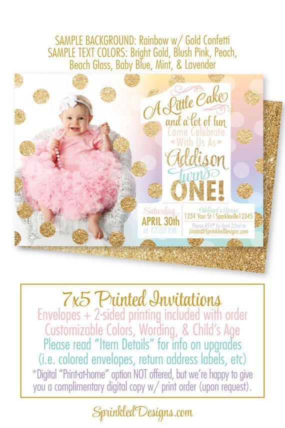 Rainbow Unicorn 1st Birthday Invitation, Unicorn First Birthday ...