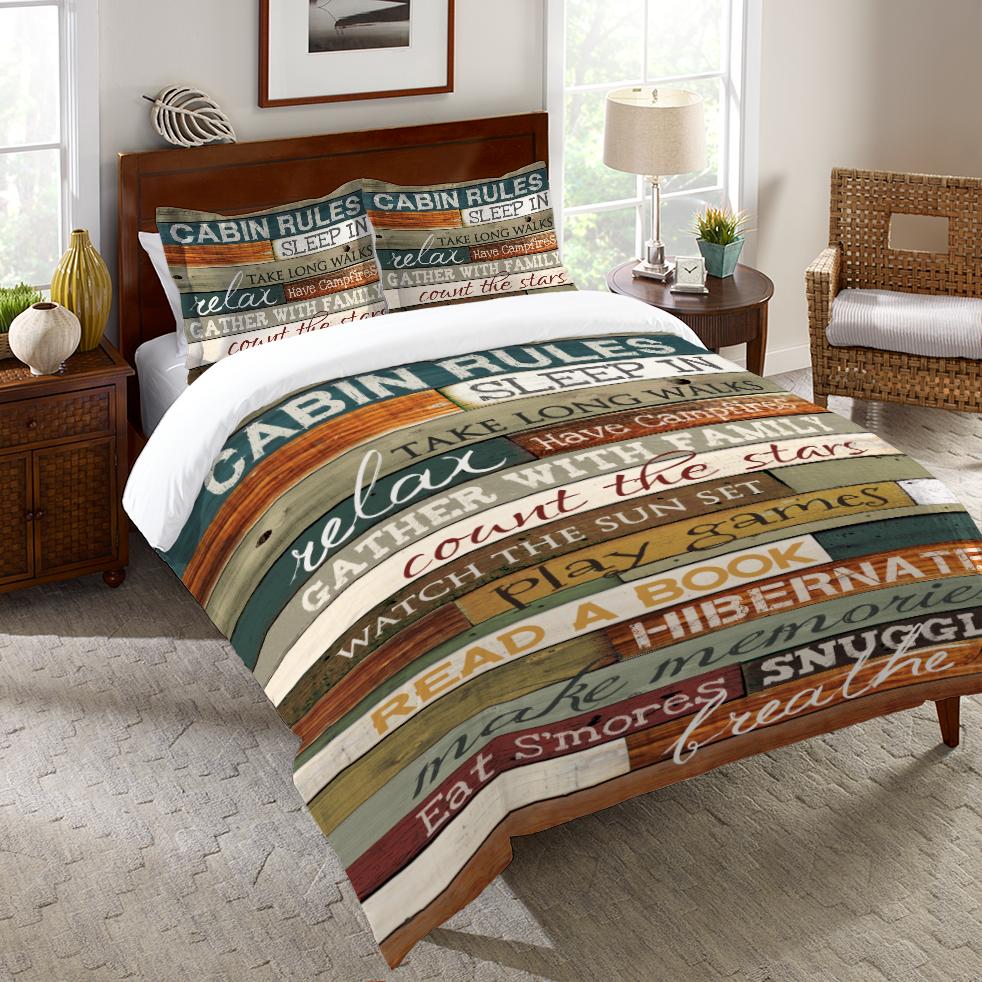 Cabin Rules Duvet Cover Home, Comforter sets, Comforters