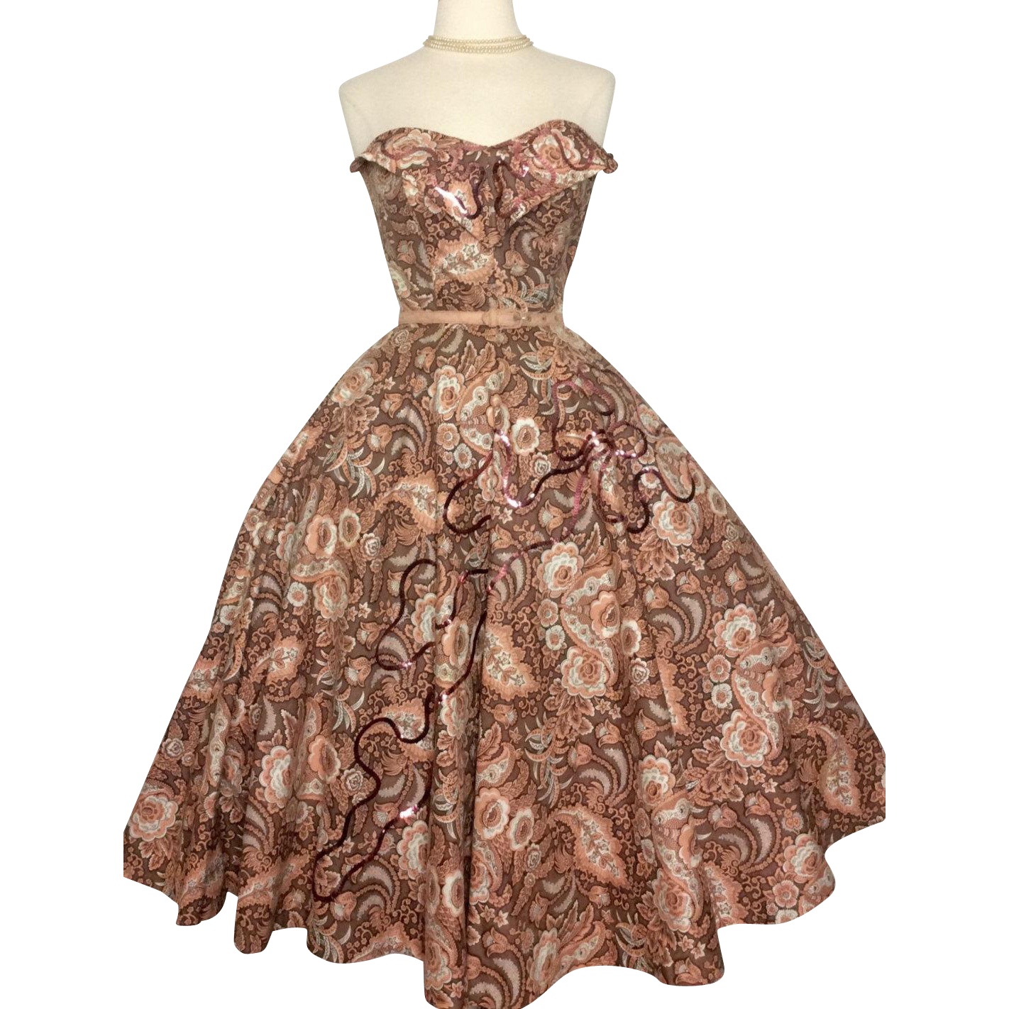 Vintage 1950s Dress//50s Strapless Dress/