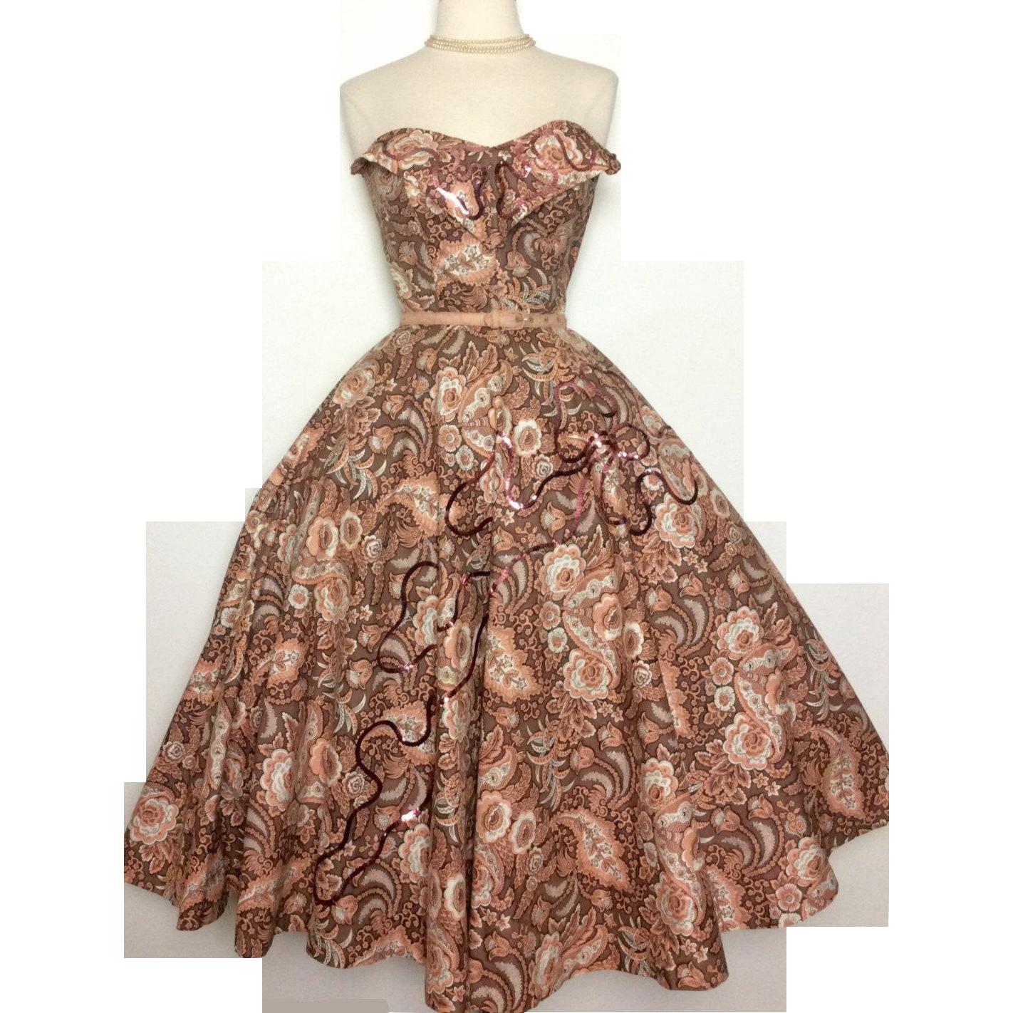 Dress//50s Strapless Dress//Floral