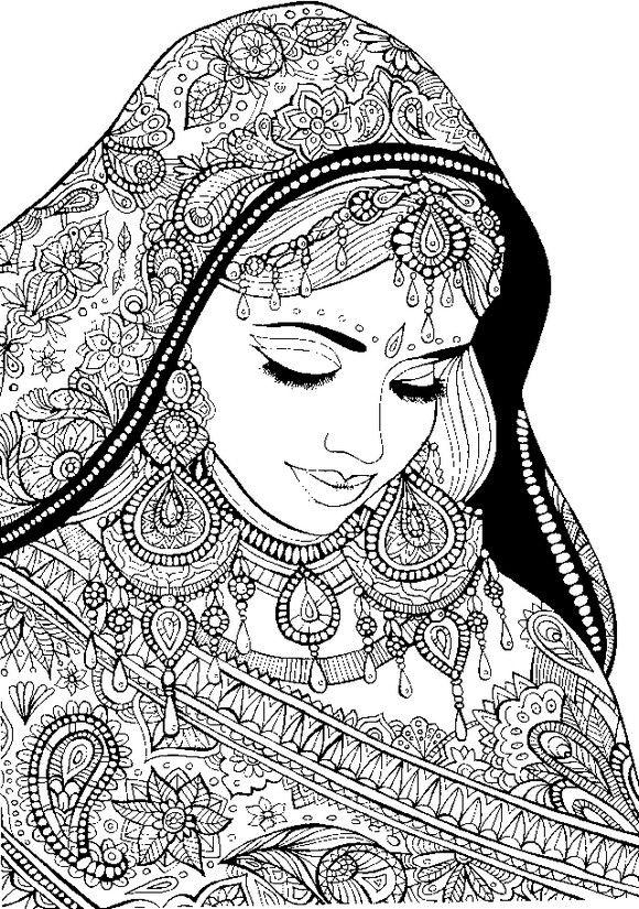 femme arabe avec des v tements de f te coloriages pinterest coloriage coloriage adulte et. Black Bedroom Furniture Sets. Home Design Ideas