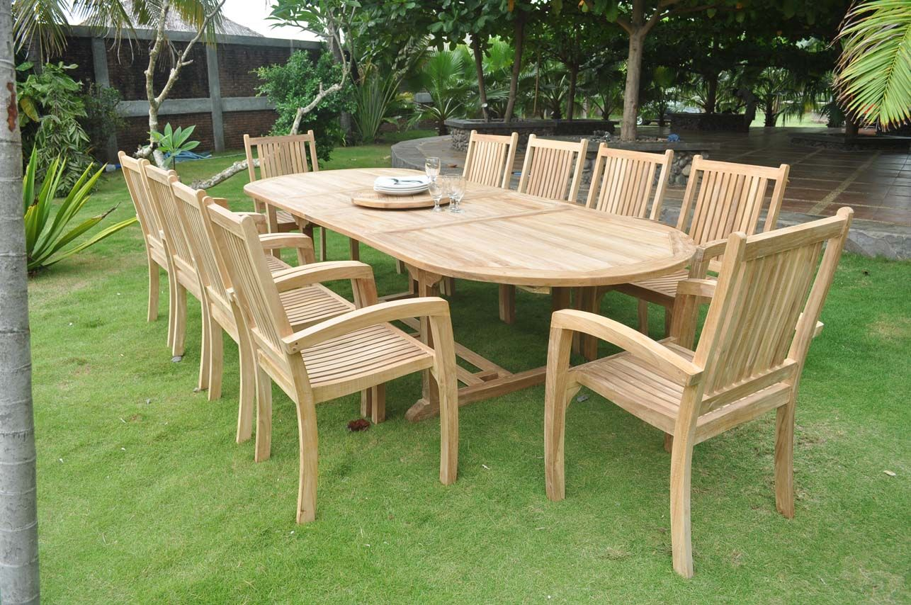 Clearance 10 Seater Teak Garden Set Large Oval Inside Teak Garden Furniture Teak Outdoor Furniture Teak Garden Furniture Clearance Patio Furniture