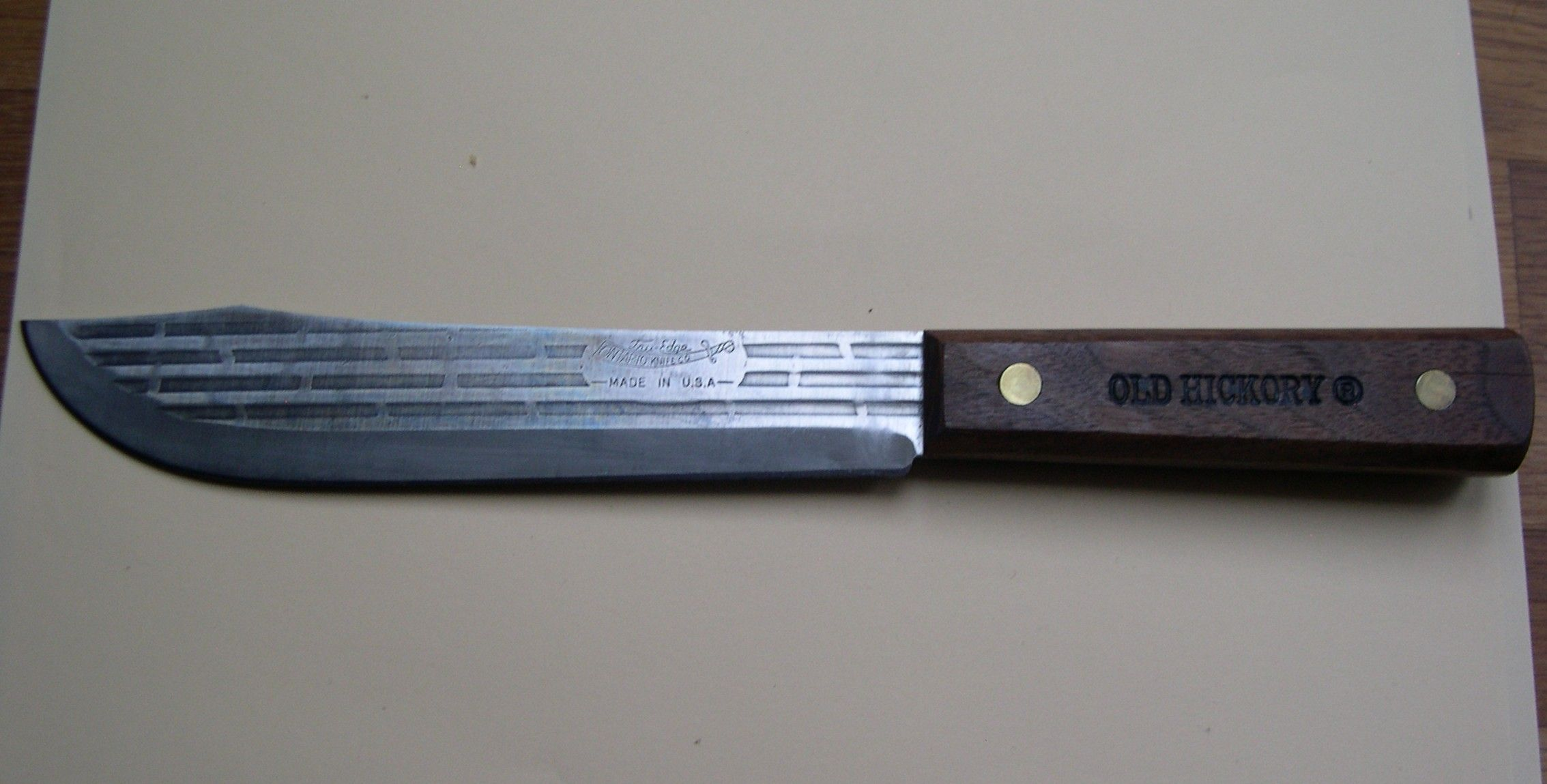 ontario old hickory butcher knife 1095 steel wooden handle
