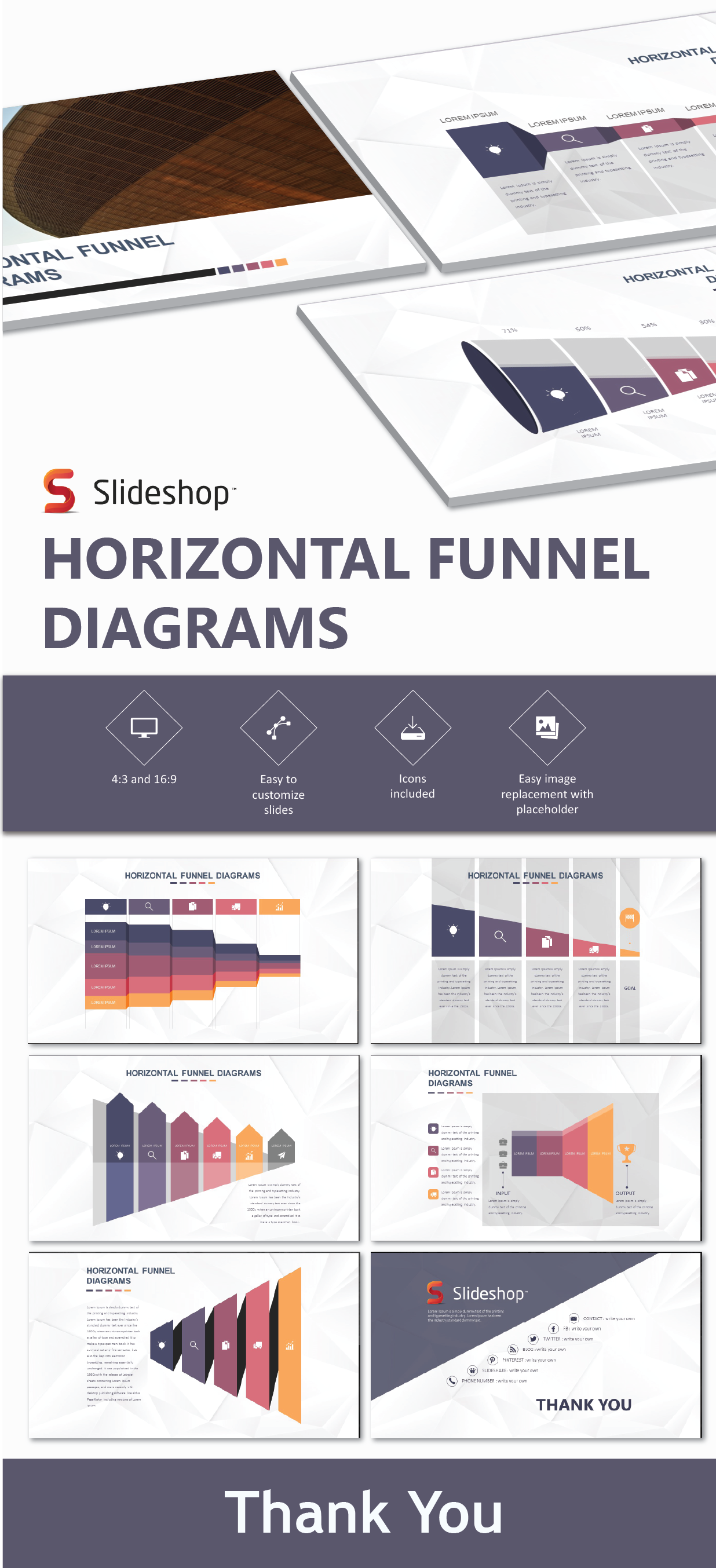 Horizontal Funnel Diagrams For Powerpoint Presentations Marketing