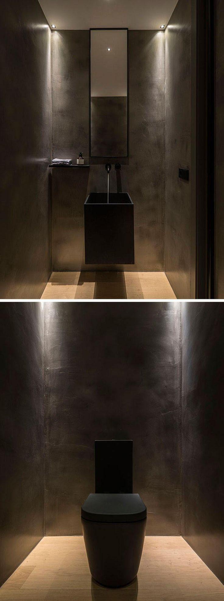 In Diesem Modernen Puderzimmer Sind Die Wande Waschbecken Und