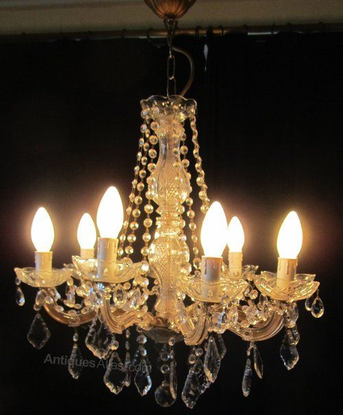 Antiques atlas charming glass brass french 8 branch chandelier