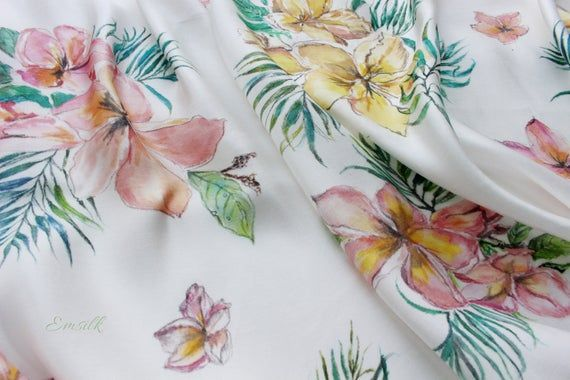 Bespoke hand painted silk scarf/tropical pattern/100 pure mulberry silk/yellow and pink plumeria flowers/palm leaves/botanical silk painting #tropicalpattern