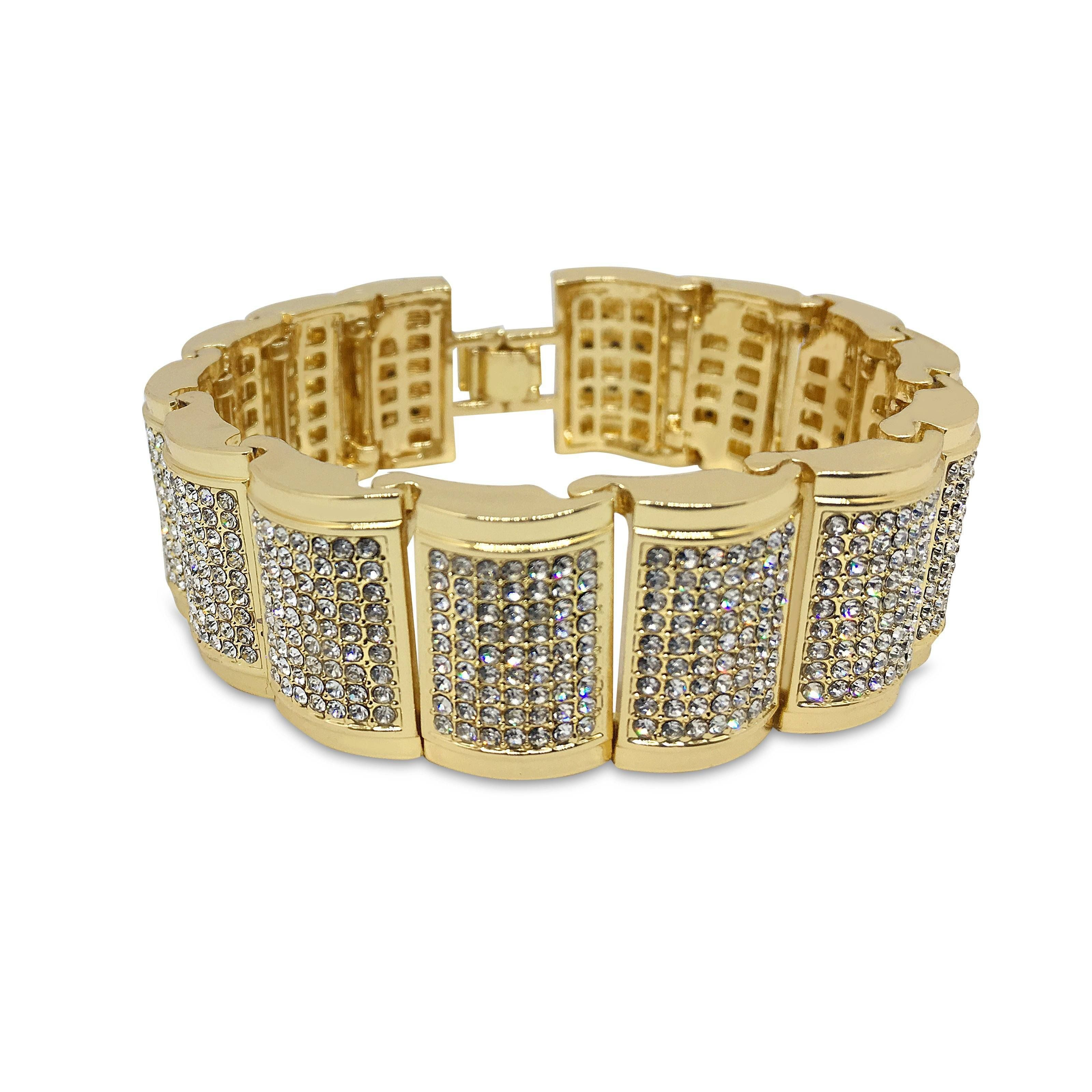 Cz crystals inlaid gold finish bracelet pinterest hip hop bling