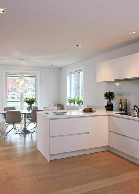 53 variantes pour les cuisines blanches cuisine laqu e parquet clair et parquet. Black Bedroom Furniture Sets. Home Design Ideas