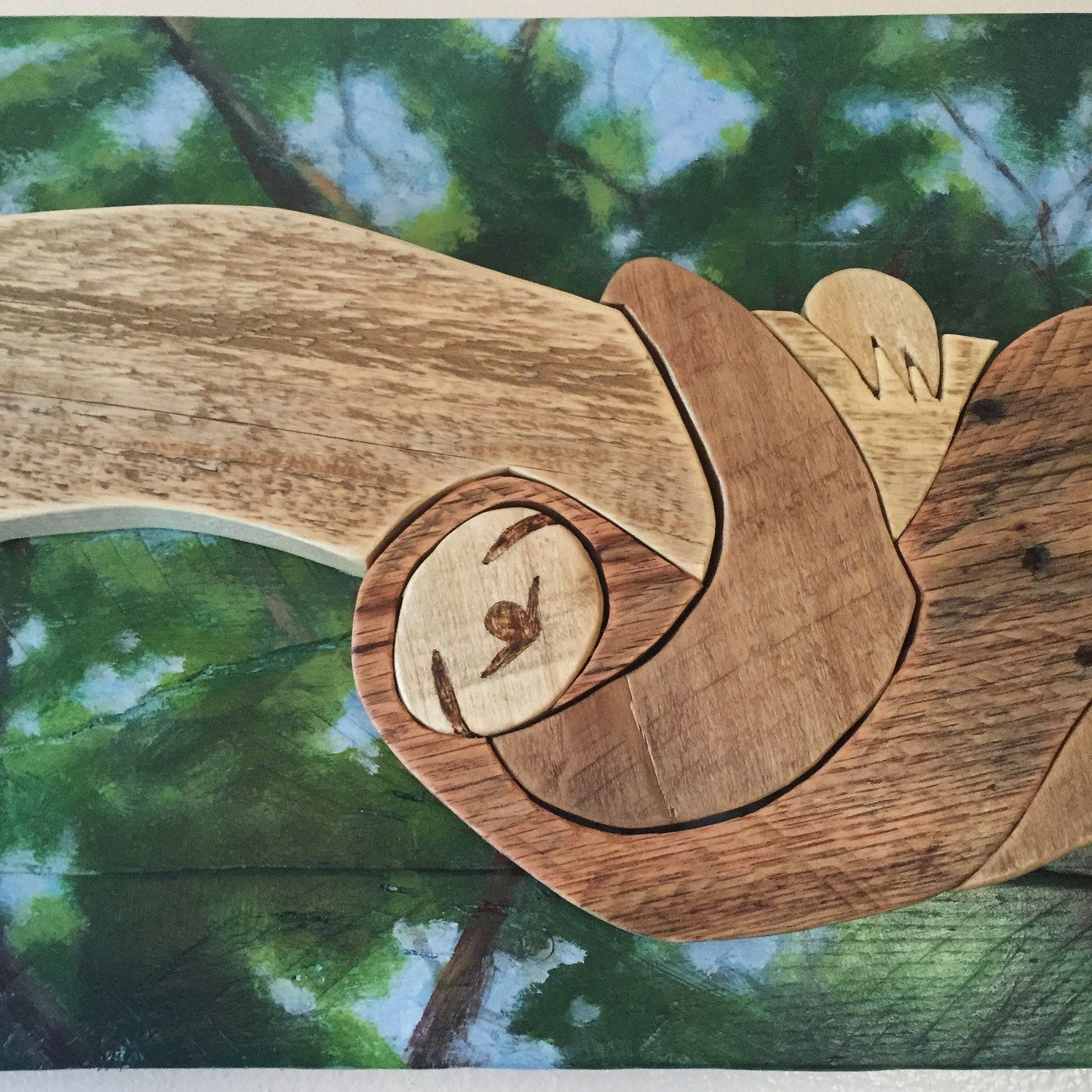 Sloth wood art- reclaimed wood, wall home decor, rustic animal art #herbivore #PaintOnWood #WoodArt #HomeDecor #sloth #rustic #animal #mammal #CuteAnimal #ReclaimedWood