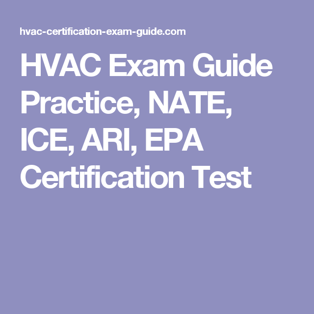 Hvac Exam Guide Practice Nate Ice Ari Epa Certification Test