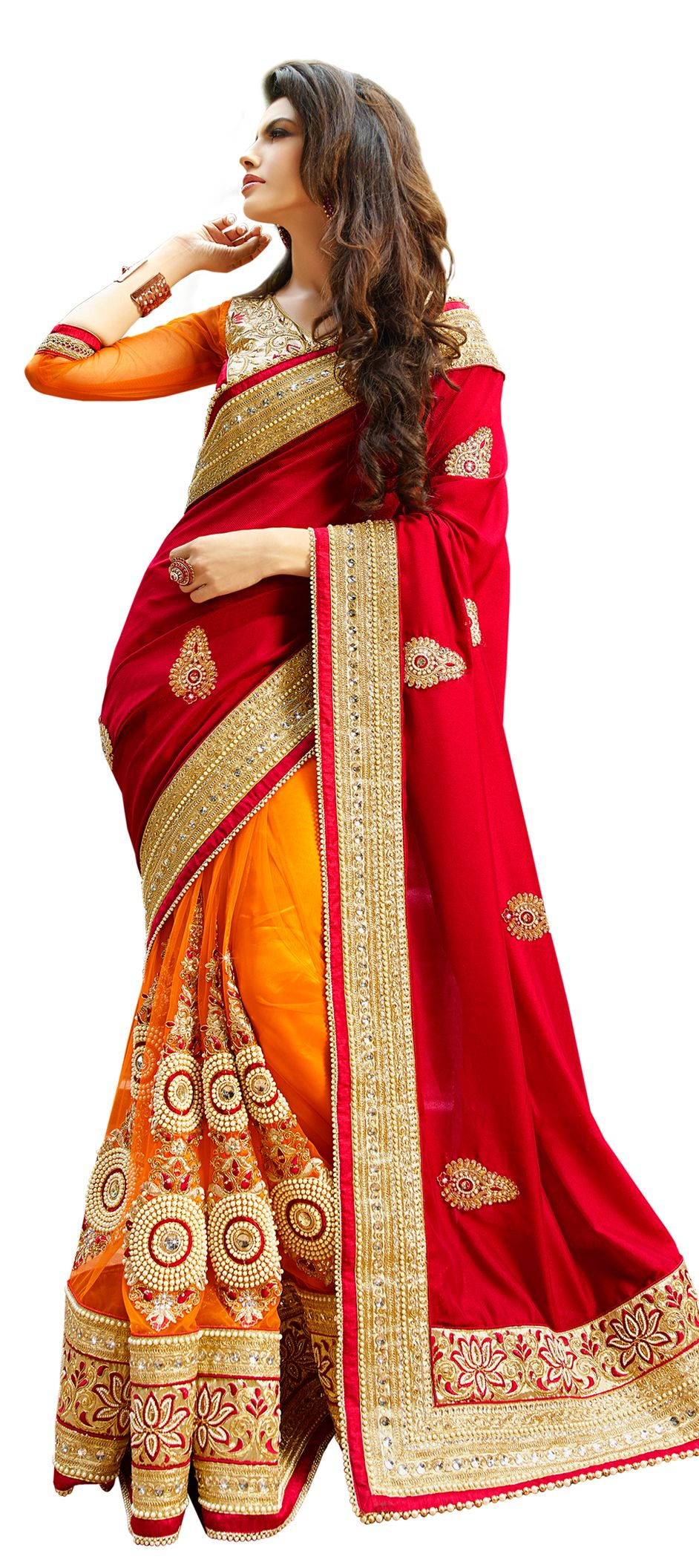 41e30bd1973 Net Bridal Saree in Red and Maroon with Resham work