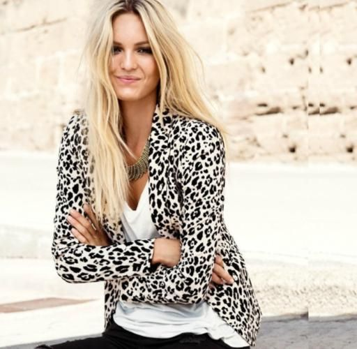Marynarka Damska Panterka Bialo Czarna Modna Xs 34 Leopard Print Blazer Fashion Style
