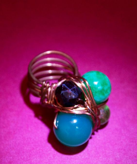 HAND MADE COPPER RING AND SEMIPRECIOUS STONES