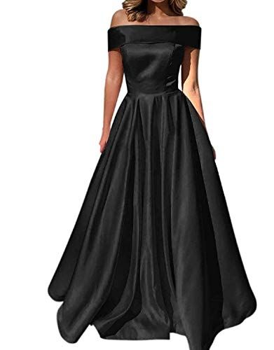 3d7056f72a YuNuo Prom Dresses Off The Shoulder Evening Dresses Satin Beaded Party Dress  A-Line Long with Pocket Formal Gown Black 10