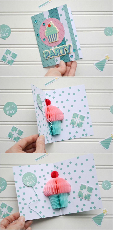 Pop Up Karte Geburtstag Selber Machen Wabenpapier Cupcake Birthday
