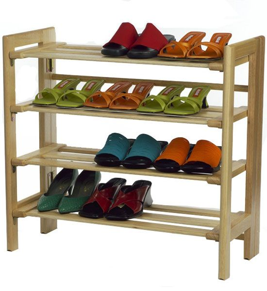 Stack several of these Wooden FourTier Shoe Shelves in your closet