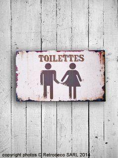 Plaque De Porte Toilettes Retrodeco Plaques Décoratives Metal - Plaques de porte décoratives