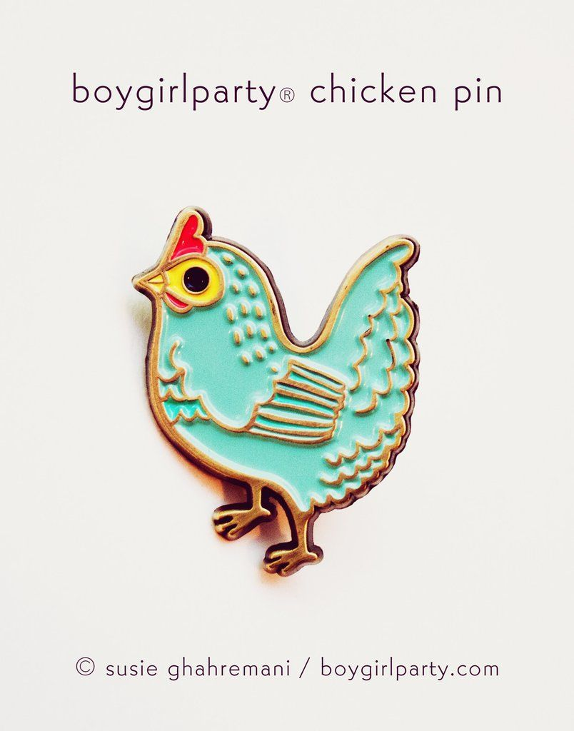 Chicken enamel pin -- featuring a unique drawing of a blue hen by illustrator Susie Ghahremani / boygirlparty® #pingame