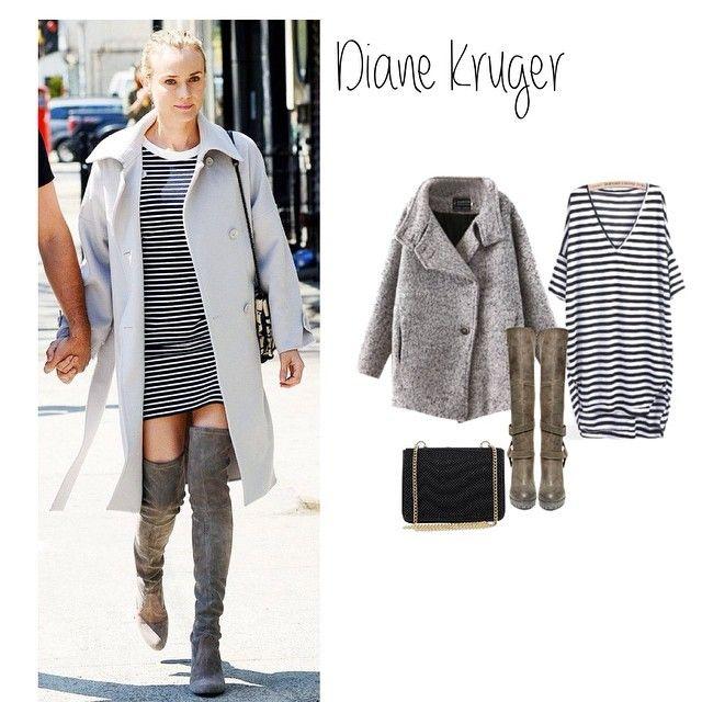 4. Diane Kruger #getthelook Arrancamos el viernes con este outfit tan original de la actriz #DianeKruger Nos hemos enamorado del maxiabrigo  #outfit #ootd #streetstyle #tagsforlike