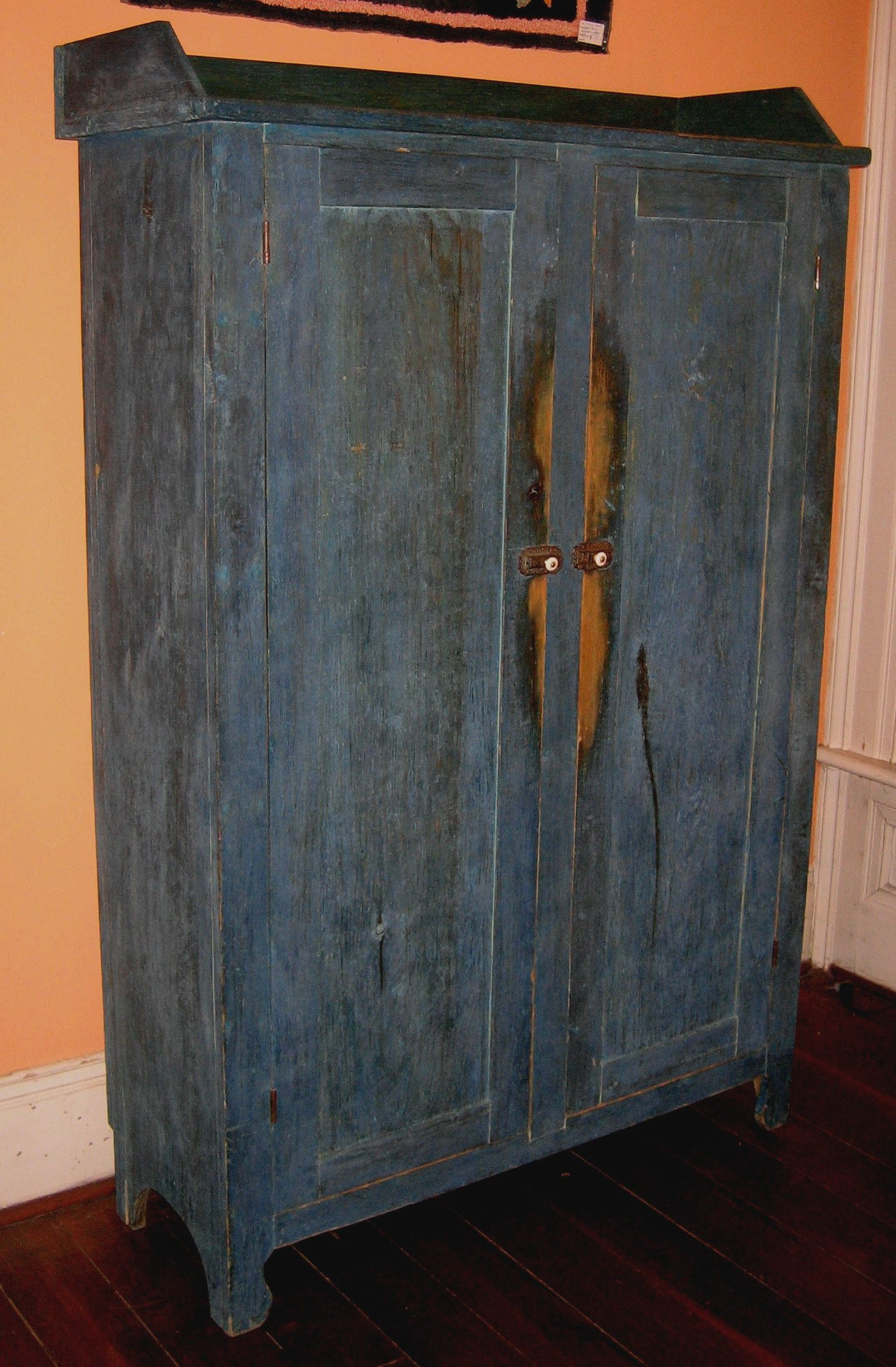 blue jelly cupboard with gallery Primitive Antiques, Primitive Decor, Old  Antiques, Jelly Cupboard - Blue Jelly Cupboard With Gallery Painted Antique Country Furniture