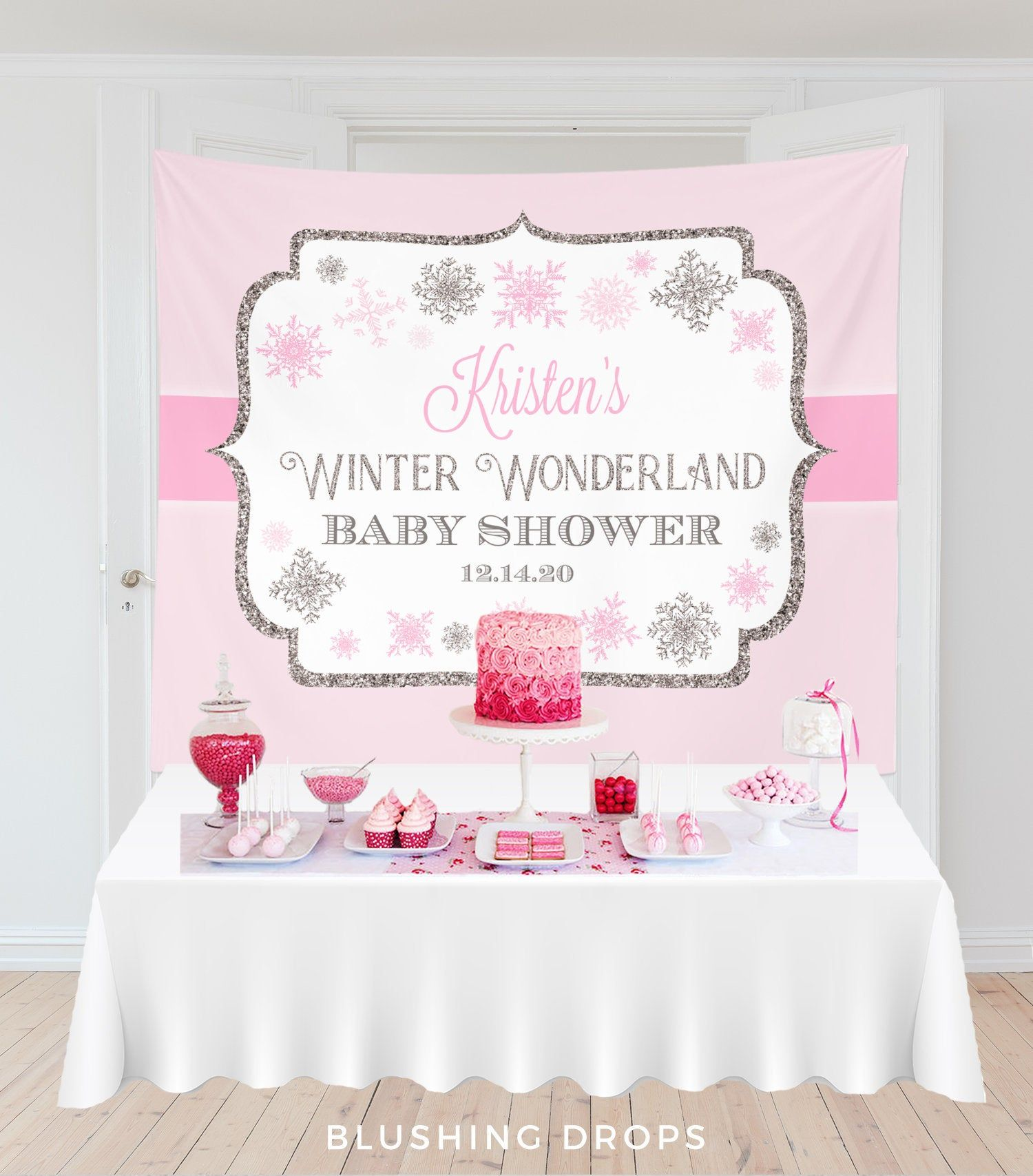 Winter Wonderland Backdrop, Winter Wonderland Baby Shower Decorations, Snowflake Baby Shower Banner, Girl Baby Shower Decor #winterwonderlandbabyshowerideas
