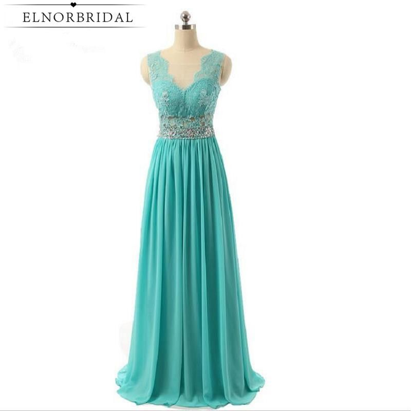 Turquoise Long Prom Dress Open Back Sheer Special Occasion Party ...