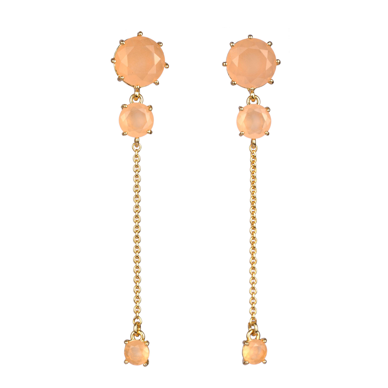 Collection La Diamantine Couleur Miel http://shop.lesnereides.com/earrings/3385-post-earrings-la-diamantinet-hree-rond-stones-and-chain-light-honey.html