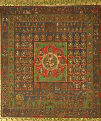 Taizokai Mandala  mid 13th century    Kamakura period     Color on silk  H: 138.7 W: 125.0 cm   Japan