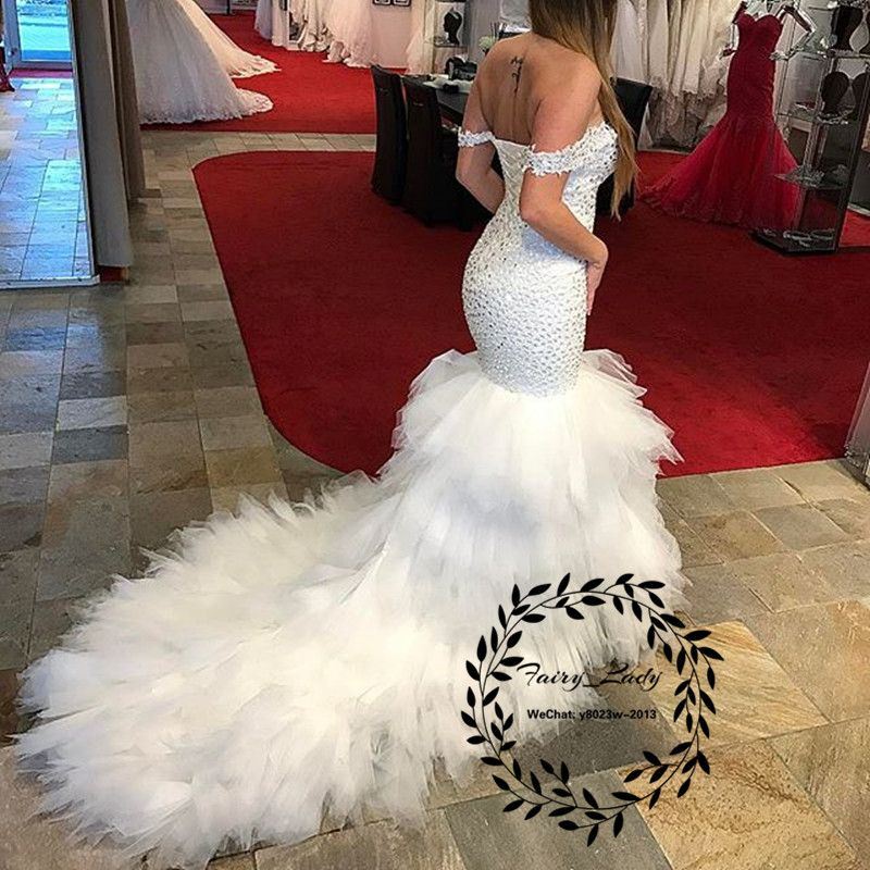 2018 Tiered Mermaid Wedding Dresses Bling Crystal Major Beading Long Chapel  Train Off Shoulder White Country Bridal Dress Formal Gowns 39b74a850adf
