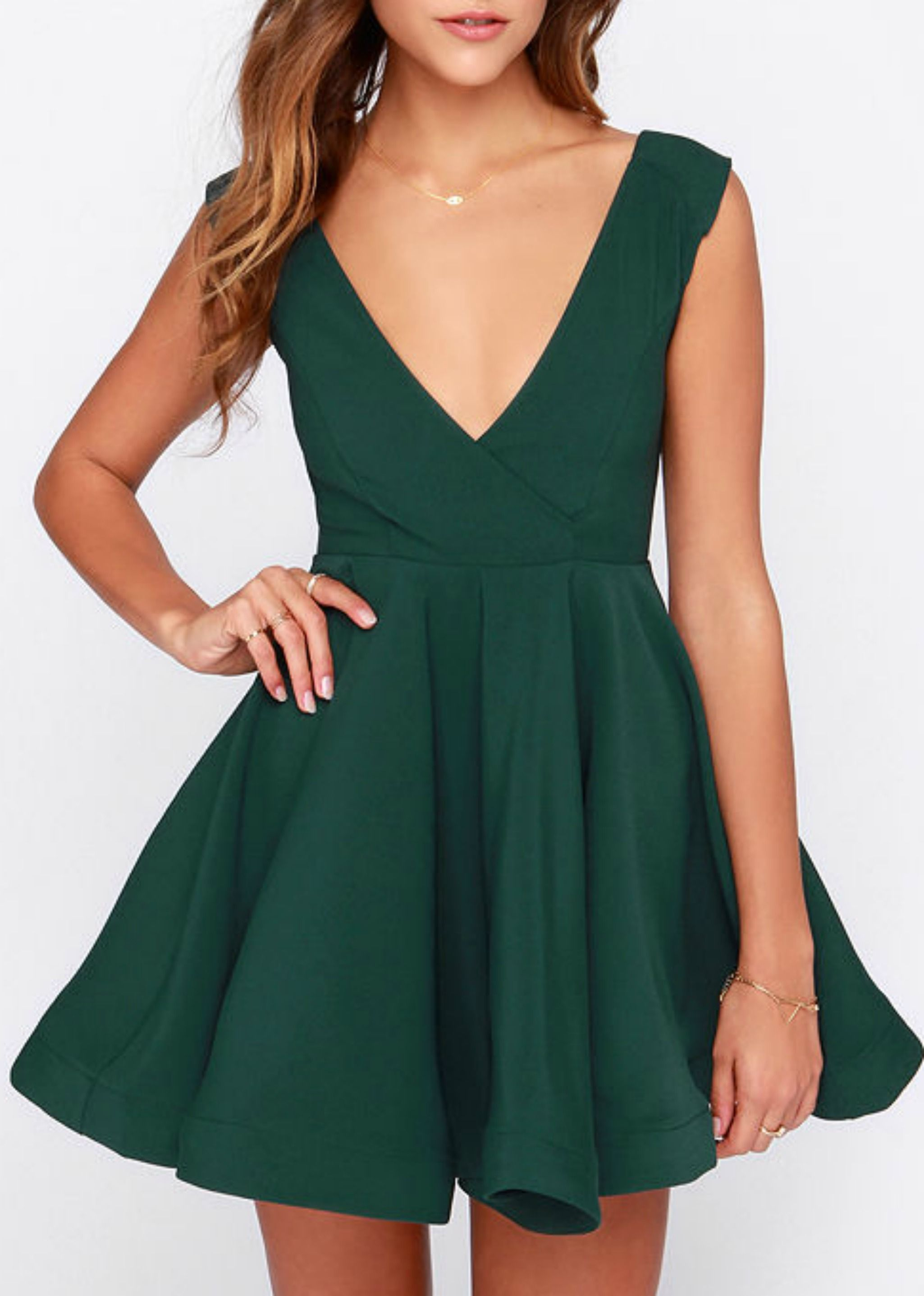f88f7ff2bd All the Right Moves Forest Green Skater Dress