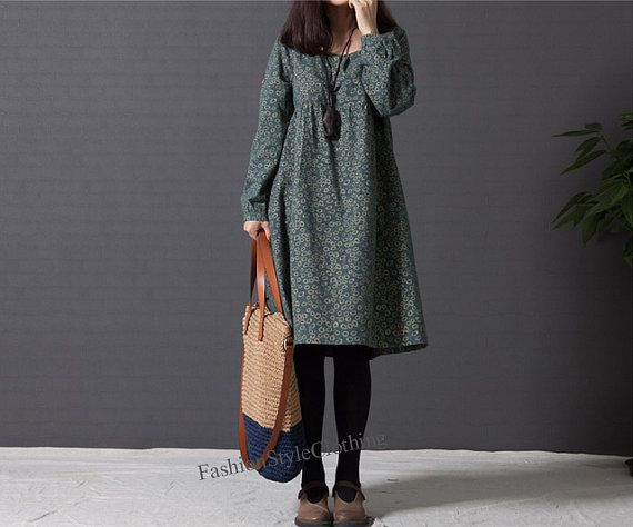 Dark green Floral print cotton dress by FashionStyleClothing