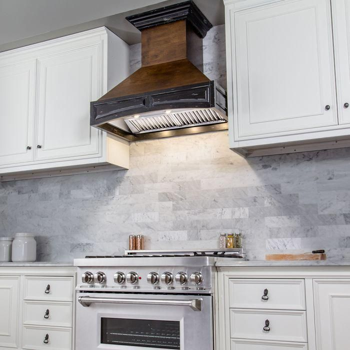 ZLINE 42 in. Wooden Wall Mount Range Hood In Antigua And Walnut - Includes Remote Motor  (321AR-RD-42)
