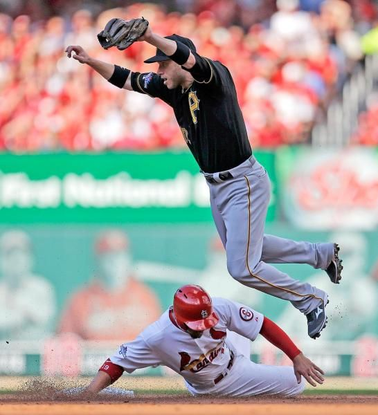 St. Louis Cardinals' Jon Jay, bottom, is forced out at second base as Pittsburgh Pirates' Clint Barmes