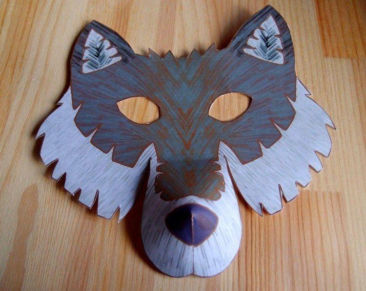 Papier Faschingsmaske In Form Eines Wolfes Lustige Faschingsmasken Kostüm Wolf Kind Märchen Kinder