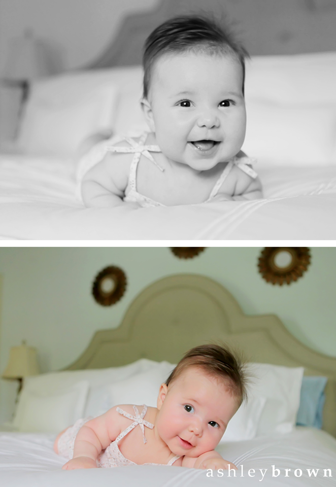 For non-sitting babies, a simple outfit in a neutral color is a great choice. The low neckline won't bunch up, either. www.ashleybrownphotography.com
