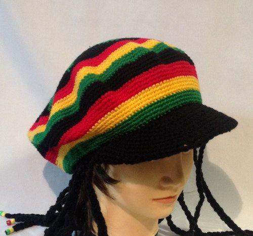 REGGAE WIDE BRIM HAT W DREADLOCKS fake hair hats costumes mens womens dressup