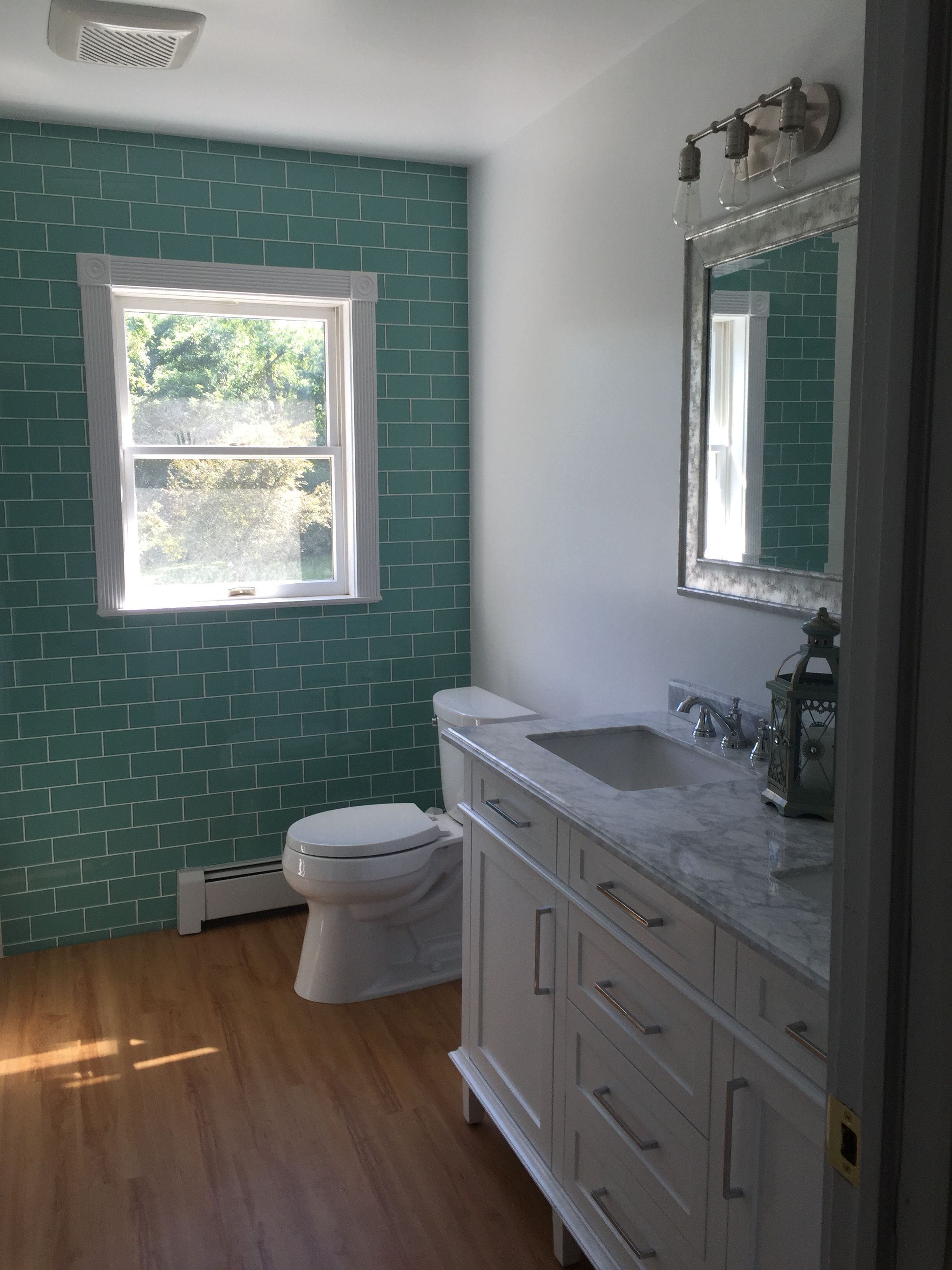 Amazingly Beautiful Accent Wall Using Sage Green Glass Subway Tile