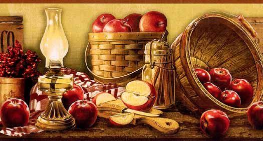 Wall Paper Borders For Kitchens Kitchen Cabinets Home Depot Basket Of Apples Border Ke4914bdb Wallpaper Inc Com