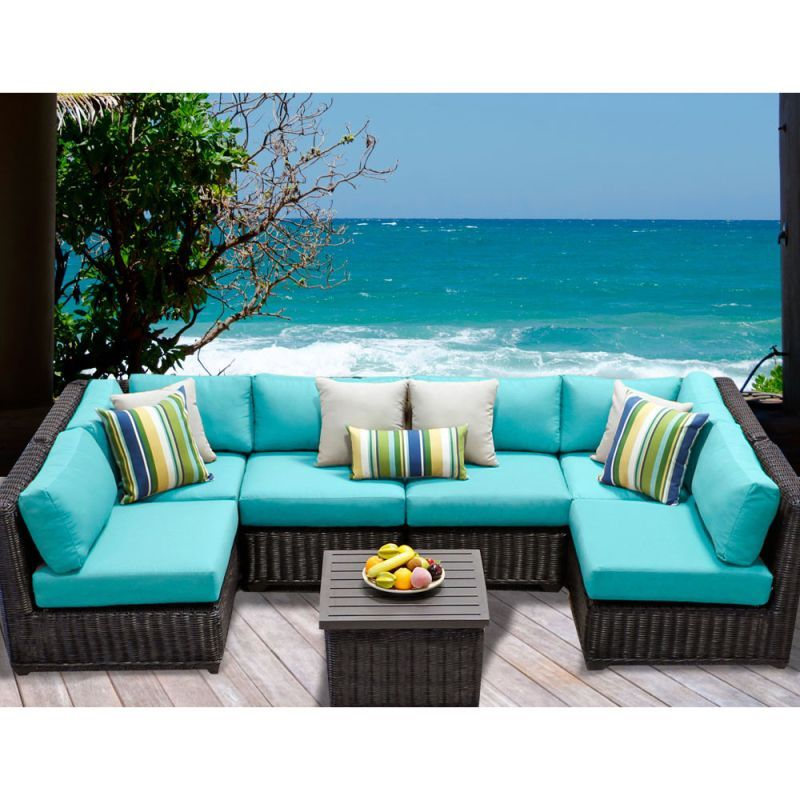 Miseno MPF-VNCE07D Mediterranean 7-Piece Aluminum Framed Outdoor Conversation Se Aruba Furniture Outdoor Furniture Outdoor Conversation Sets