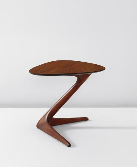 Charming Vladimir Kagan; Walnut U0027Unicornu0027 Side Table, C1960 .