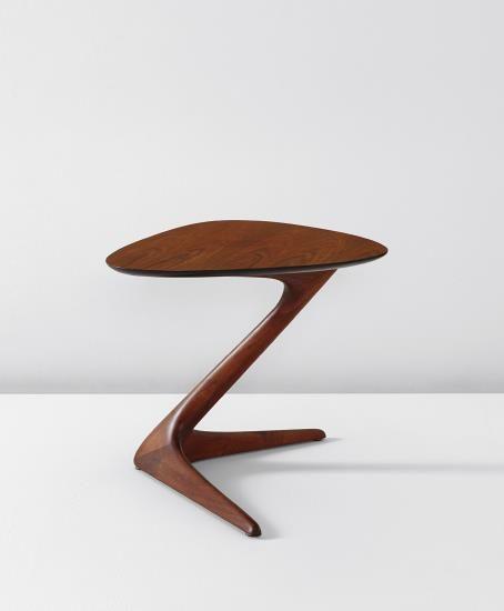 Beautiful Vladimir Kagan; Walnut U0027Unicornu0027 Side Table, ...