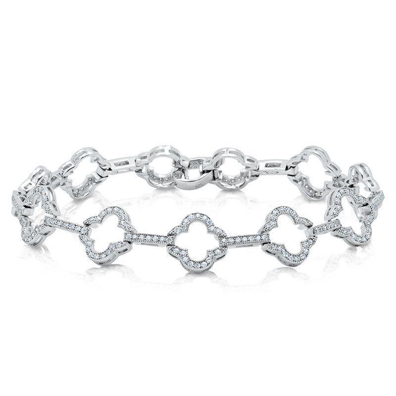 Sterling Silver Bracelet And Simulated Diamonds By Swarovski